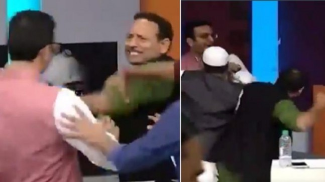 WATCH: BJP, Samajwadi Party leaders beat each other on LIVE TV. One detained