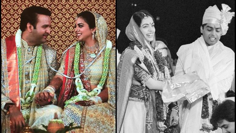 Isha-Anand and Nita-Mukesh at their respective weddings.