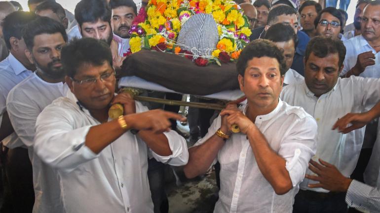Sachin Tendulkar took part in the procession to the crematorium in Mumbai (PTI Photo)