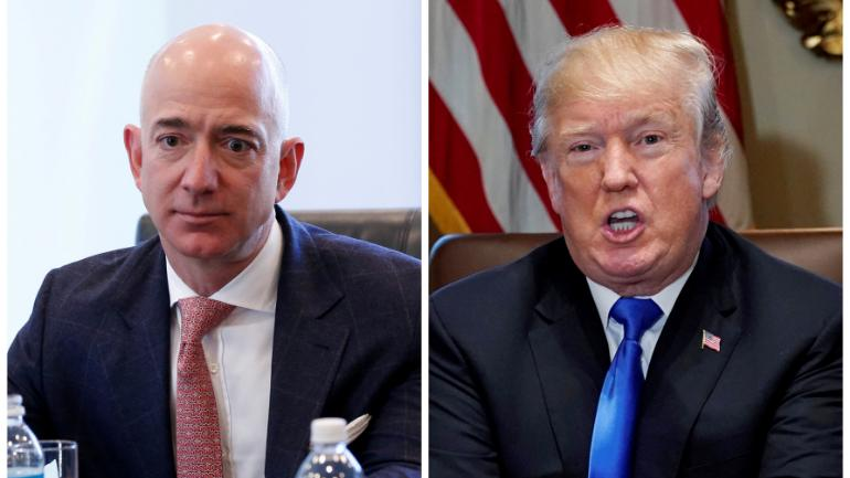Jeff Bezos and Donald Trump