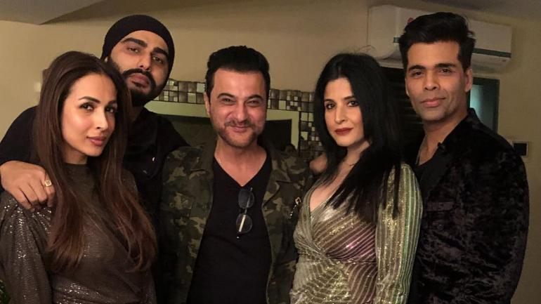 Sanjay Kapoor shared a picture with Arjun Kapoor and Malaika Arora from his New Year bash.
