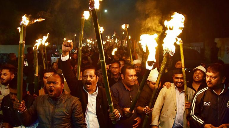 Assam Congress workers protest against the Citizenship Bill