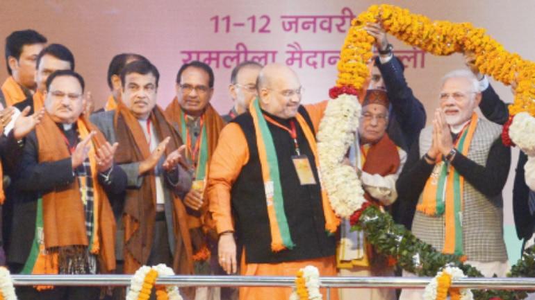 Prime Minister Narendra Modi with senior BJP leaders in New Delhi on Friday