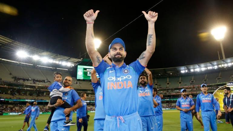Indian cricket team celebrates its ODI series victory in Australia (BCCI Photo)