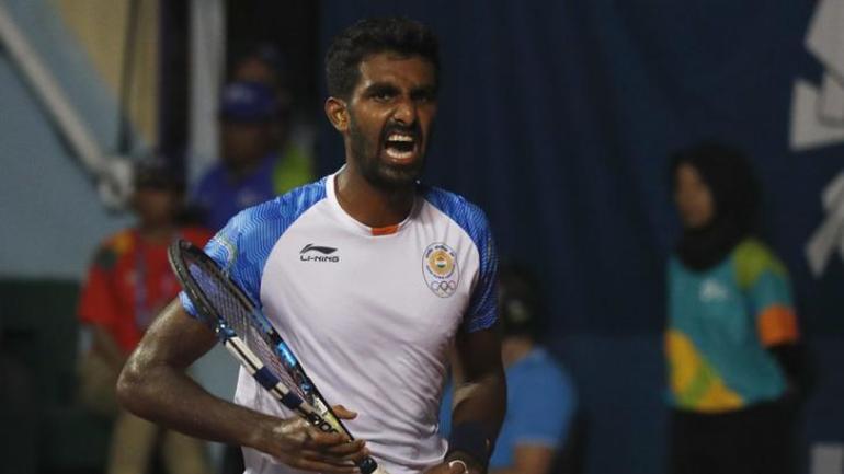 World number 112 Prajnesh Gunneswaran faces higher-ranked Frances Tiafoe in the opening round (Reuters Photo)