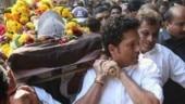 Tearful Sachin Tendulkar attends childhood coach Ramakant Achrekar's funeral