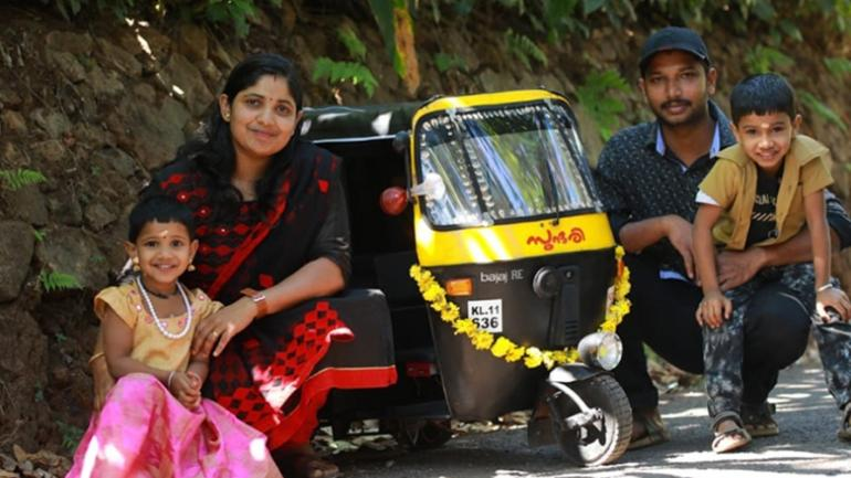Man Gifts Kids Motor Operated Smaller Auto Rickshaw Names It