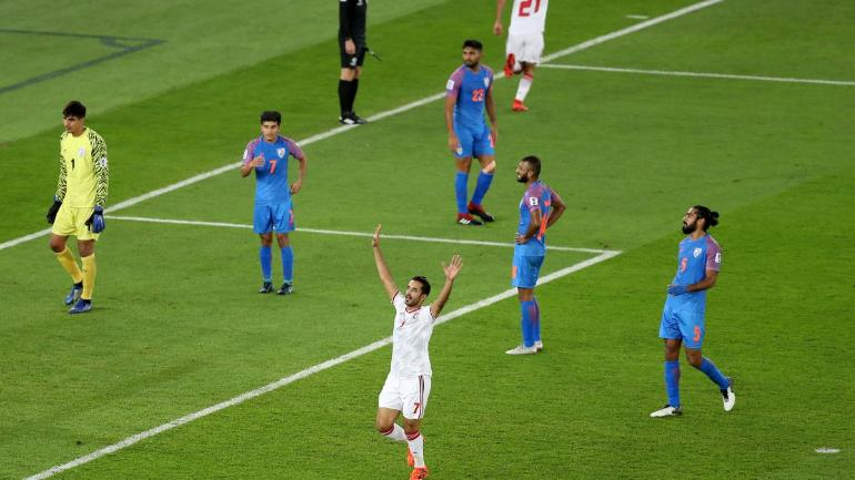 Goals from Ali Mabkhout and Khalfan Mubarak in the 41st and the 88th minute helped UAE beat India 2-0 (AFC Photo)