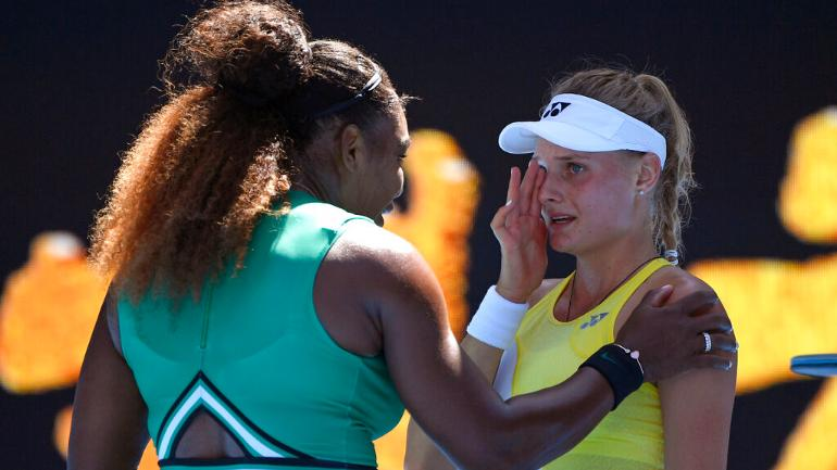 Serena Williams consoles Dayana Yastremska after emphatic Australian Open win