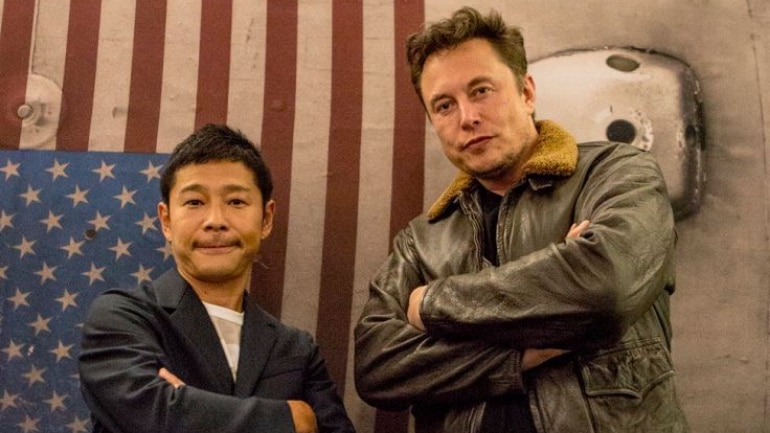 Yusaku Maezawa seen with the iconic Elon Musk