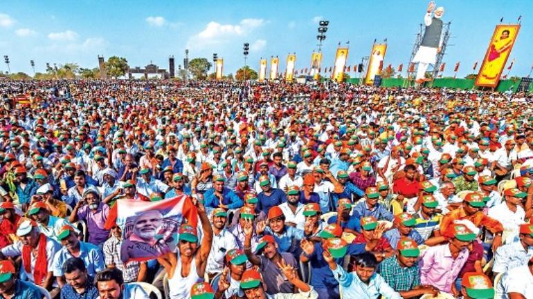 BJP supporters during Prime Minister Narendra Modi's rally in Tiruppur, Tamil Nadu.
