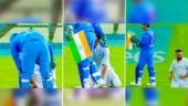MS Dhoni ensures Indian flag doesn't touch the ground as fan rushes out to touch his feet