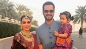 Pregnant Esha Deol glows in ethnicwear with hubby Bharat Takhtani at family wedding