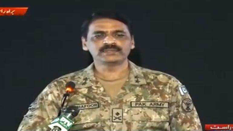 Pakistan Army spokesperson Major General Asif Ghafoor issuing statement on Indian airstrike on JeM camp.