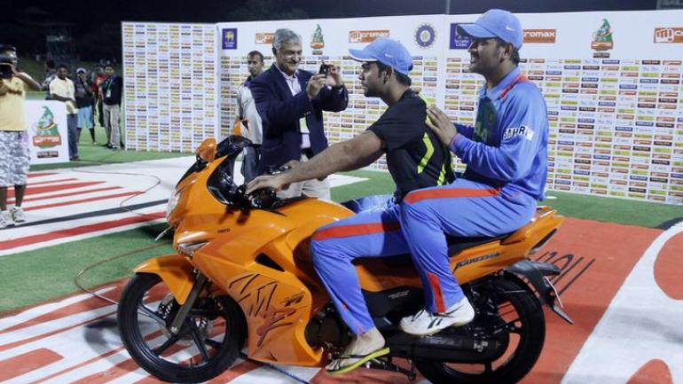 MS Dhoni rode pillion with Virat Kohli after a T20I match in Sri Lanka in 2012 (Reuters Photo)