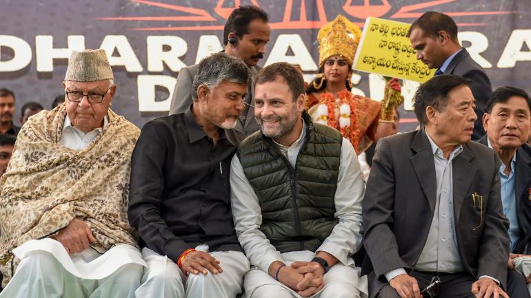 Congress President Rahul Gandhi, NC chief Farooq Abdullah and Chandrababu Naidu