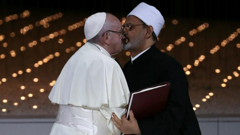 Pope Francis, Grand Imam of Egypt kiss, sign document for world peace