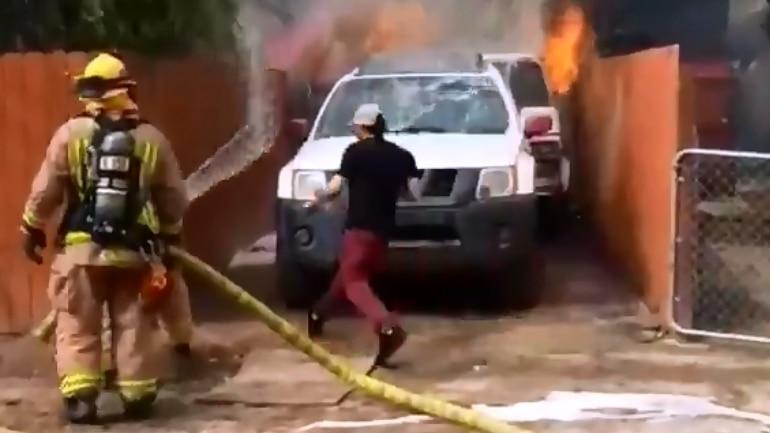 Man runs inside his burning home to save his dog Photo: Kusi News