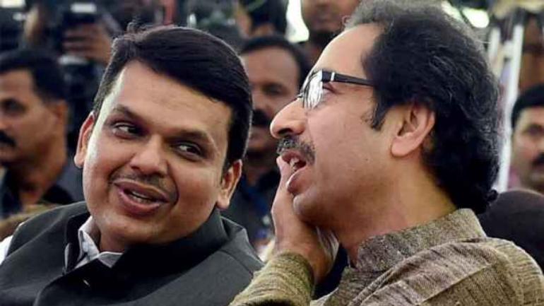 Maharashtra Chief Minister Devendra Fadnavis with Shiv Sena chief Uddhav Thackeray at an event. (File Photo: PTI)