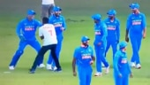 MS Dhoni chased around by pitch invader in Nagpur, Virat Kohli not amused