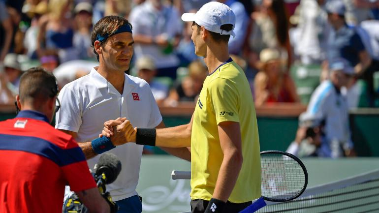 This was the first career meeting between Federer and Hurkacz (AP Photo)