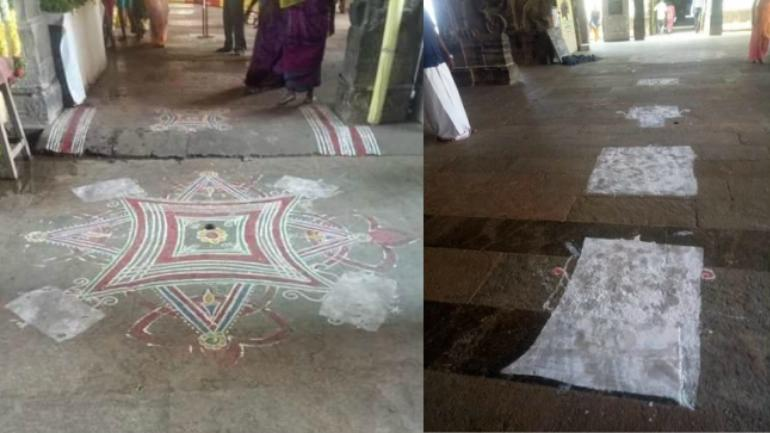 The rangolis with lotus designs were covered up with white paint.
