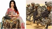 Surat traders printed saris with US soldiers on it Photo: Twitter/Zoo Bear