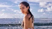 Manushi Chhillar gets into the sea for a sizzling photoshoot in backless floral monokini