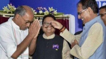 Senior Congress leader Digvijay Singh with former Madhya Pradesh CM Shivraj Singh Chouhan.