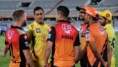 MS Dhoni shares a laugh with David Warner after SRH finally beat CSK