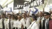 Jet Airways employees protest outside Delhi airport over pay delay