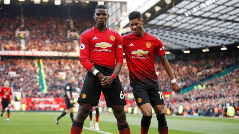 Paul Pogba's brace helped Manchester United clinch three points against West Ham United on Saturday (Reuters Photo)