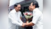 Shake it up? KCR, left, is greeted by DMK's Stalin in Chennai on May 13. (Photo: Jaison G)