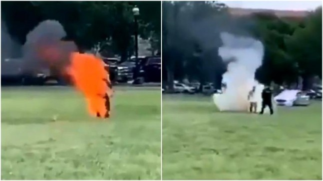 WATCH: Man sets himself on fire outside White House in US #wanitaxigo