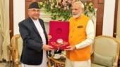 Nepal PM KP Sharma Oli gifts Rudraksh mala to PM Narendra Modi