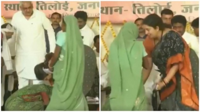 Woman falls at Smriti Irani's feet in Amethi over land dispute with family, MP promises swift action