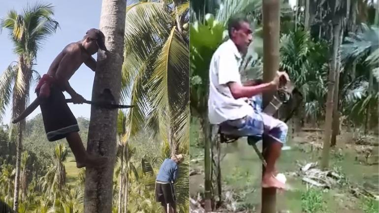 Indian farmer creates bike to climb coconut trees in viral