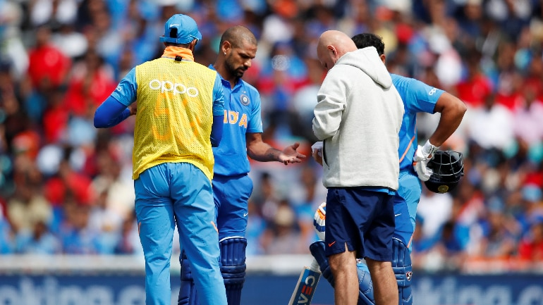 Shikhar Dhawan was hit on his left thumb by a Pat Cummins bouncer (Reuters Photo)