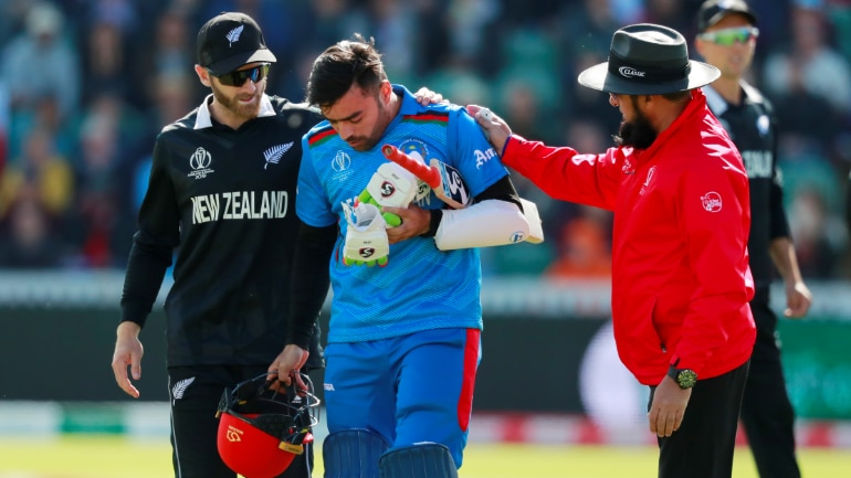 World Cup 2019: Kane Williamson rushed to check on Rashid Khan after the Afghanistan leg-spinner was hit on the helmet on Saturday (Reuters Photo)