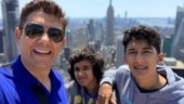 Madhuri Dixit's sons Arin and Ryan go college hunting with dad Shriram Nene in NYC. See pics