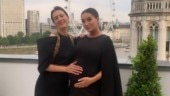 Pregnant Amy Jackson sparkles in black cape dress, flaunts baby bump. See pic