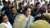 Youth Congress workers protest against Priyanka Gandhi's detention