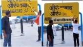 On video: Three men rub out Aurangabad, write Sambhaji Nagar on railway station board