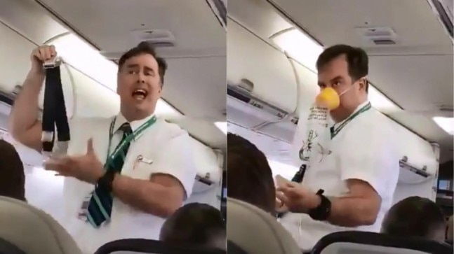 Canadian flight attendant gives safety instructions in most