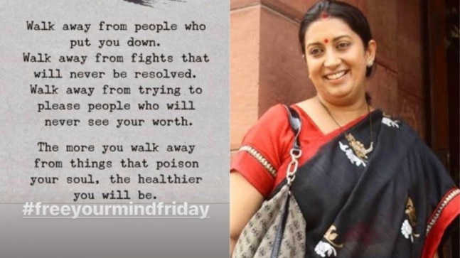 Smriti Irani has the best Friday tip for you on her Instagram story. Trending now