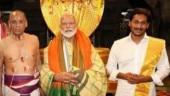 YS Jaganmohan Reddy in Tirupati temple with Narendra Modi