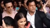 Akshay Kumar protects Vidya Balan from crowd during Mission Mangal promotions. See video