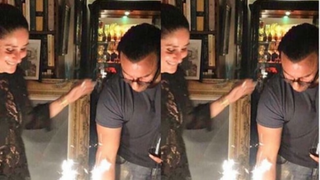 Kareena Kapoor Khan is all smiles as Saif Ali Khan cuts cake on his 49th birthday. See pic