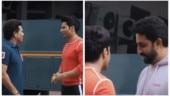 Varun Dhawan plays gully cricket with Sachin Tendulkar, Abhishek Bachchan joins them. Watch video