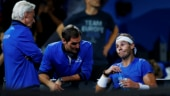 Spin, slice... you know, like in the old days: Roger Federer advises Rafael Nadal during Laver Cup